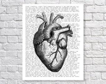 Edgar Allan Poe 'The Tell-Tale Heart' Poetry Poem 5x7, 8x10, 11x14 Typography Anatomy Heart Art Print Wall Decor Home Decor Horror Print