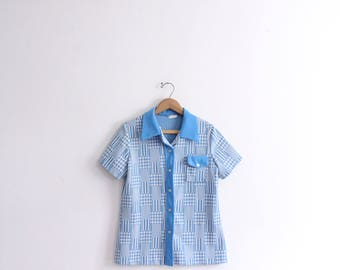 Blue Check Pattern 60s Polo Shirt