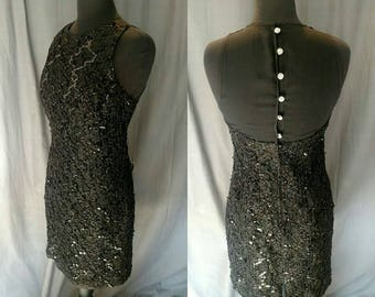 1980s Vintage Black Cocktail Dress by Tom Barra - Ribbon work and Sequins with a Rhinestone button up Back - Size 10 - 80s Women's Dress