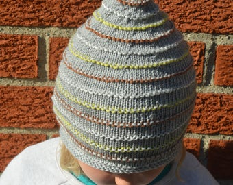 Knitted Gray Gnome Hat With Stripes