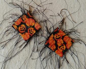 Fuzzy Pumpkin Earrings