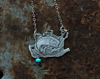 Hand carved  sterling silver fish with Turquoise pendant