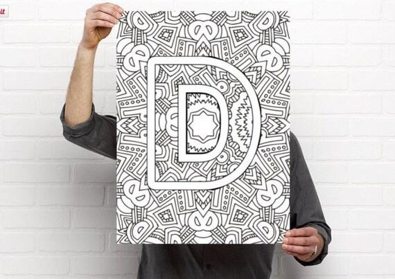 Alphabet Adult Coloring Pages Instant Download Letter D