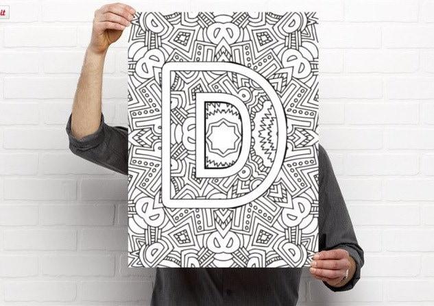 Letter S Coloring Pages Alphabet : Adult coloring pages instant download letter d