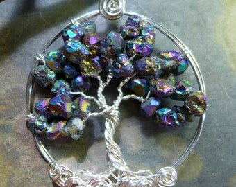 Titanium Tree of Life Pendant- Rainbow Mystic Titanium AB Quartz Crystal Tree of Life Pendant Necklace- Wire Wrapped Birthstone Necklace