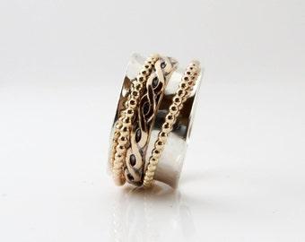 Celtic Ring, Thumb Ring, Spinner Ring, Girlfriend Ring, Sterling Silver Band, Meditation Ring, Wedding Ring, Silver Gold Ring,