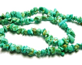 100 turquoise chip beads PCH7-017
