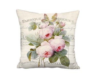 16x16 Inch - READY TO SHIP - Linen Cotton French Document and Roses Pillow with Insert - Shabby Chic French Cottage Farmhouse Decor