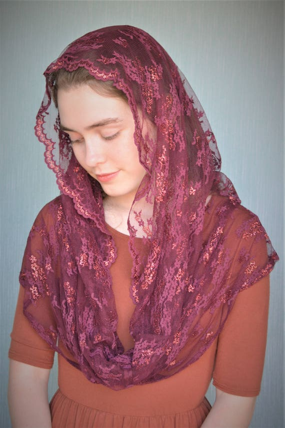 Cranberry Shimmer Chapel Veil | Red Catholic Chapel Veil Catholic Mantilla Catholic Veil Church Veil Mass Veil Veil for Mass Robin Nest Lane