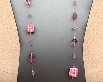 Bubble Gum Pink Candy Lampwork Glass Bead Necklace