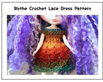 Blythe Crochet Lace Dress Pattern, Blythe Doll Dress Pattern, Blythe Doll Crochet Pattern, Lace Dress Doll Crochet Pattern