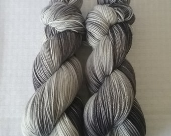 Hand dyed Yarn / Handdyed Yarn, Sock Yarn, Gradient Yarn / Tonal Yarn – Gray / Grey –  75/25 Superwash Merino and Nylon – 100g