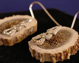 Large Antler with Vintage Rhinestone Triangles Earrings