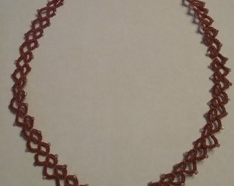 tatted necklace dusty pink