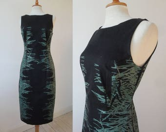 "Black Fitted 90s Vintage Dress With Green ""Rubber"" Print // Elastic Pencil Dress"