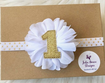 White and Gold First Birthday Headband, Baby Headband, Newborn Headband, Baby Girl Headband, Infant Headband, 1st Birthday Headband, Baby
