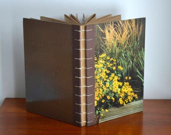 garden journal / large sketchbook with brown recycled paper & black eyed susan image - coptic bound