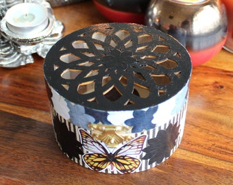 Black and White Floral Striped - Circular Wooden Trinket Box With Black Lattice Lid