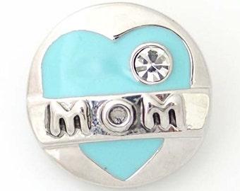 1 PC 18MM Mom Blue Enamel Rhinestone Silver Candy Snap Charm ds5088 CC1382