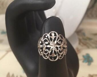 Fancy Filigree Sterling Silver Ring, Size 7.