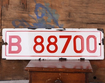 Military license plate, Enamel plate, Army registration plate, Car number plate, Garage mechanic, Automobile car decor, Metal sign red