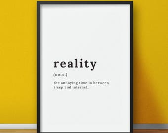 Reality Definition - Definition poster print - Printable digital design - Instant digital download art decal - Word definition  sc 1 st  Etsy & Travel definition Definition prints Travel poster Gift for