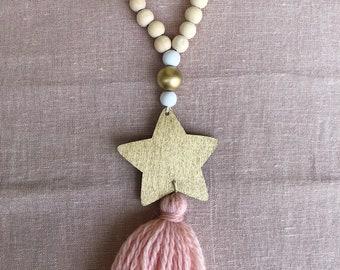 PomPoms GUSTAVE wooden and wool - nursery accessories - wood decor, Boho, Tassel garland, tassel Bohemian