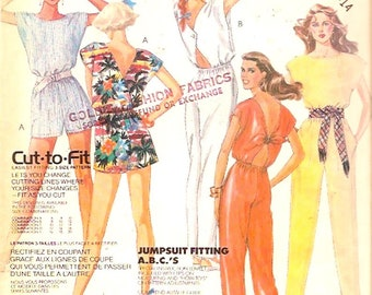 Summer Jumpsuit 80s vintage sewing pattern beach style resort wear McCalls 2481 UNCUT Size 10 to 14