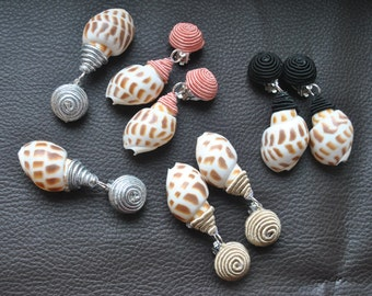 Shell clips,Shell Sea wrapped in silk cord,Bonbons earrings,clips on Shell,Shell bonbon earrings