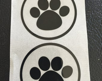 50 Paw Print Round Seals, Colors Black Clear, Black and Yellow, Paw Stickers, Puppy Paw Stickers, Envelope Stickers, Envelope Seal