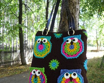 Crocheted Owl Tote Bag,   handmade crochet handbag . A bright bag for fall and spring