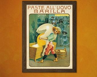 Italian Pasta Print - Vintage Food Poster Kitchen Decor Pasta Poster Kitchen Wall Art Birthday Gift Idea Pasta Poster