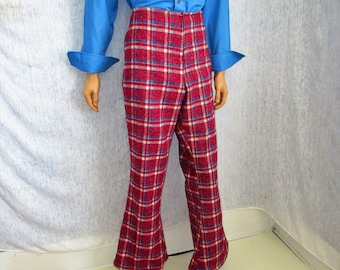 "70s 35"" Mens Bell Bottom Pants Wool Blend Maroon Plaid WeirdoWear"