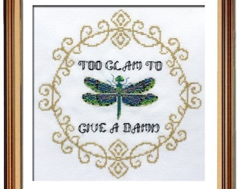 PEACOCK & FIG Too Glam to Give a Damn counted cross stitch patterns at thecottageneedle.com insect dragonfly Spring alternative subversive