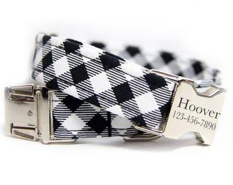 Engraved Tartan Dog Collar, Plaid dog collar, Black and White Check