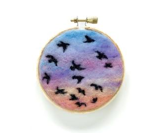 """Sunset Series 18, Birds in Flight - 3"""" Hoop"""