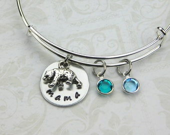 Mama Bear Bracelet, Mama Bear Jewelry, Mother's Day Gift, Child's Birthstone Bracelet, Mom's Birthday, New Mom , Mom Charm Bracelet