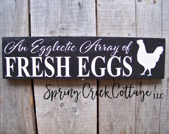 Fresh Eggs, Chicken Coop Signs, Chicken Coop Decor, Rustic, Signs, Farm Decor, Handpainted Signs, Home and Living, Farmhouse Decor, Chickens