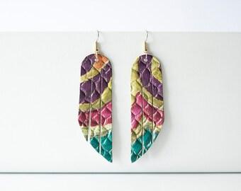 Leather Earrings / Fringe / Tropical Summer