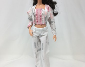 """Doll Pant Suit-11.5"""" Doll Clothes-Handmade Doll Clothes-Sparkly Doll Clothes-Crop Pants-Crop Top-Unique Doll Clothes-Gifts for Girls-Toys"""