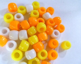 Pony Beads 6 x 9 mm 150 Beads in Color Combo Candy Corn Mix  Orange Yellow and White Mix