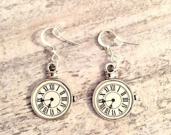 Small Pocket Watch Earrings, Steampunk Jewelry, Steampunk Earrings, Silver Clock Earrings, Mini Pocket Watch Earrings, Sterling Silver 925