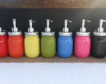 "Mason Jar Soap Dispenser ""Rainbow Collection"""