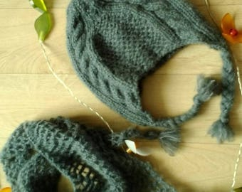 Hat and wispy triangle in Alpaca and silk