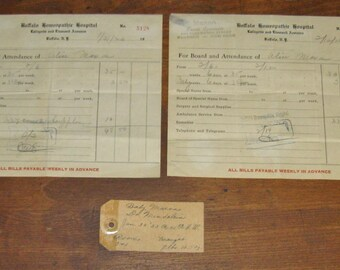 1923 Ephemera Hospital Statements or Receipts & Bassinet Name Tag Baby's Birth / Buffalo Homeopathic Hospital / Buffalo New York
