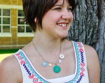 Pastel Flowers Necklace in Silver & Gold - Vintage Pendant, Rhinestones, Enamel