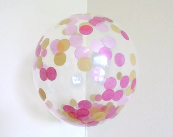 Pink and Gold Confetti, Pink and Gold Balloons, Pink and Gold Confetti Baby Shower, Confetti Balloons, Pink and Gold First Birthday Party