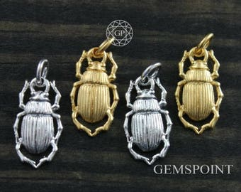 Sterling Silver or Vermeil Charm, Bug Charm/w Open Jump Ring, Silver Bug Charm, Gold Bug Charm, Bug Charm, Insects Charm, (7-19)