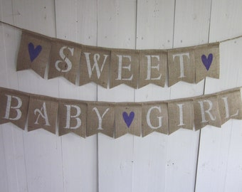 Baby Girl Banner - Sweet Baby Girl Baby Shower Bunting - Baby Shower Garland - Baby Shower Decoration - Baby Girl Nursery Decor Sign