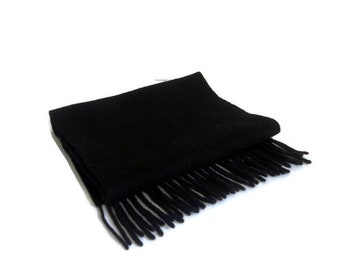 Wool scarf Vintage Simple Black soft Scarf Mens accessories Warm Scarves Short black scarf Men's accessories Gift for him